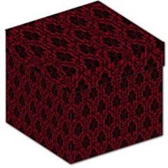 Elegant Black And Red Damask Antique Vintage Victorian Lace Style Storage Stool 12