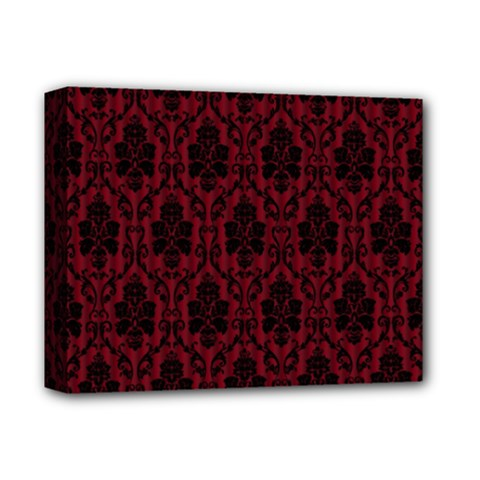Elegant Black And Red Damask Antique Vintage Victorian Lace Style Deluxe Canvas 14  x 11