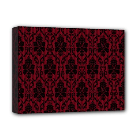 Elegant Black And Red Damask Antique Vintage Victorian Lace Style Deluxe Canvas 16  x 12