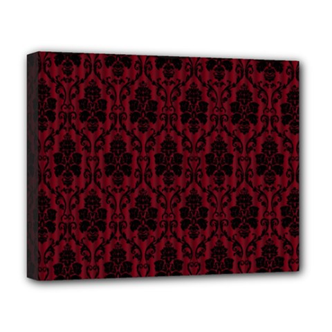 Elegant Black And Red Damask Antique Vintage Victorian Lace Style Deluxe Canvas 20  x 16