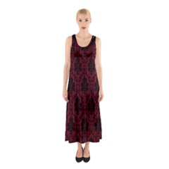 Elegant Black And Red Damask Antique Vintage Victorian Lace Style Sleeveless Maxi Dress