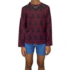 Elegant Black And Red Damask Antique Vintage Victorian Lace Style Kids  Long Sleeve Swimwear