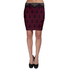 Elegant Black And Red Damask Antique Vintage Victorian Lace Style Bodycon Skirt