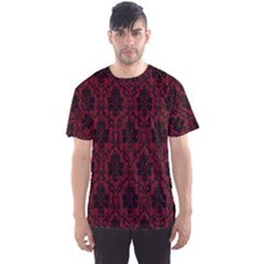 Elegant Black And Red Damask Antique Vintage Victorian Lace Style Men s Sport Mesh Tee