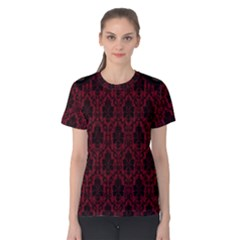 Elegant Black And Red Damask Antique Vintage Victorian Lace Style Women s Cotton Tee