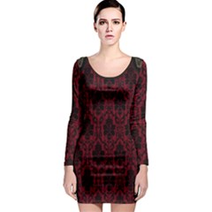Elegant Black And Red Damask Antique Vintage Victorian Lace Style Long Sleeve Bodycon Dress