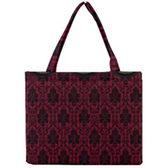 Elegant Black And Red Damask Antique Vintage Victorian Lace Style Mini Tote Bag