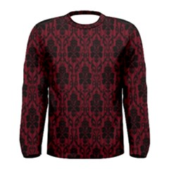 Elegant Black And Red Damask Antique Vintage Victorian Lace Style Men s Long Sleeve Tee