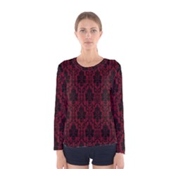 Elegant Black And Red Damask Antique Vintage Victorian Lace Style Women s Long Sleeve Tee