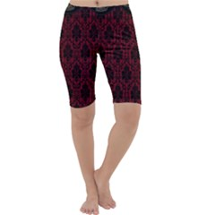 Elegant Black And Red Damask Antique Vintage Victorian Lace Style Cropped Leggings