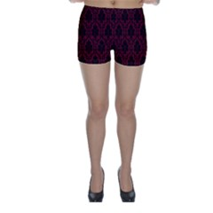 Elegant Black And Red Damask Antique Vintage Victorian Lace Style Skinny Shorts