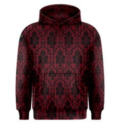 Elegant Black And Red Damask Antique Vintage Victorian Lace Style Men s Pullover Hoodie