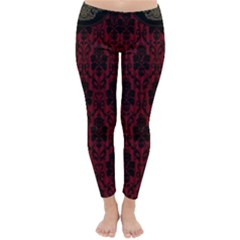 Elegant Black And Red Damask Antique Vintage Victorian Lace Style Classic Winter Leggings