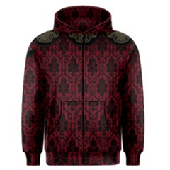 Elegant Black And Red Damask Antique Vintage Victorian Lace Style Men s Zipper Hoodie