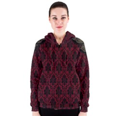Elegant Black And Red Damask Antique Vintage Victorian Lace Style Women s Zipper Hoodie