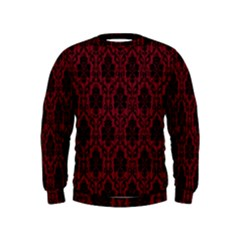 Elegant Black And Red Damask Antique Vintage Victorian Lace Style Kids  Sweatshirt