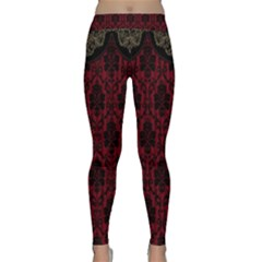 Elegant Black And Red Damask Antique Vintage Victorian Lace Style Classic Yoga Leggings