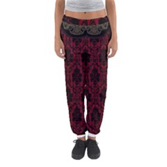 Elegant Black And Red Damask Antique Vintage Victorian Lace Style Women s Jogger Sweatpants