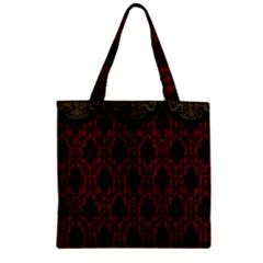 Elegant Black And Red Damask Antique Vintage Victorian Lace Style Zipper Grocery Tote Bag