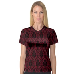 Elegant Black And Red Damask Antique Vintage Victorian Lace Style Women s V-Neck Sport Mesh Tee