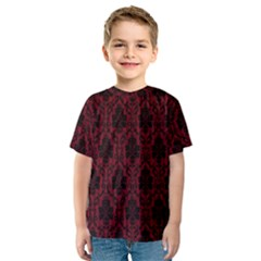 Elegant Black And Red Damask Antique Vintage Victorian Lace Style Kids  Sport Mesh Tee