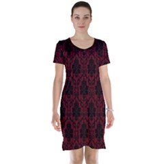 Elegant Black And Red Damask Antique Vintage Victorian Lace Style Short Sleeve Nightdress