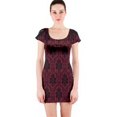 Elegant Black And Red Damask Antique Vintage Victorian Lace Style Short Sleeve Bodycon Dress