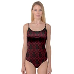 Elegant Black And Red Damask Antique Vintage Victorian Lace Style Camisole Leotard