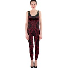 Elegant Black And Red Damask Antique Vintage Victorian Lace Style OnePiece Catsuit