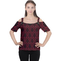 Elegant Black And Red Damask Antique Vintage Victorian Lace Style Women s Cutout Shoulder Tee