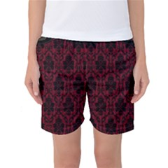 Elegant Black And Red Damask Antique Vintage Victorian Lace Style Women s Basketball Shorts