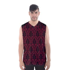 Elegant Black And Red Damask Antique Vintage Victorian Lace Style Men s Basketball Tank Top