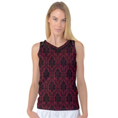 Elegant Black And Red Damask Antique Vintage Victorian Lace Style Women s Basketball Tank Top