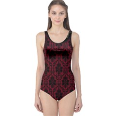 Elegant Black And Red Damask Antique Vintage Victorian Lace Style One Piece Swimsuit