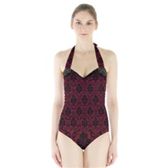 Elegant Black And Red Damask Antique Vintage Victorian Lace Style Halter Swimsuit
