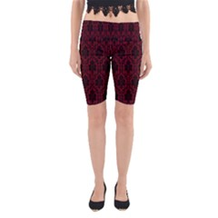 Elegant Black And Red Damask Antique Vintage Victorian Lace Style Yoga Cropped Leggings
