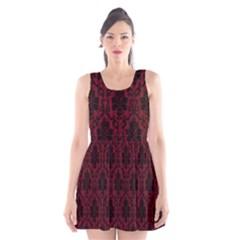 Elegant Black And Red Damask Antique Vintage Victorian Lace Style Scoop Neck Skater Dress