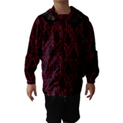 Elegant Black And Red Damask Antique Vintage Victorian Lace Style Hooded Wind Breaker (Kids)