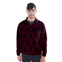 Elegant Black And Red Damask Antique Vintage Victorian Lace Style Wind Breaker (Men)