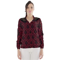 Elegant Black And Red Damask Antique Vintage Victorian Lace Style Wind Breaker (Women)