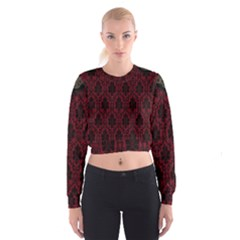 Elegant Black And Red Damask Antique Vintage Victorian Lace Style Women s Cropped Sweatshirt