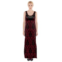 Elegant Black And Red Damask Antique Vintage Victorian Lace Style Maxi Thigh Split Dress