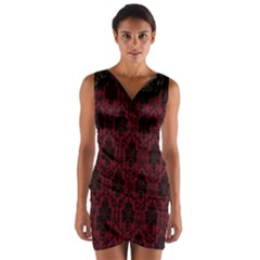 Elegant Black And Red Damask Antique Vintage Victorian Lace Style Wrap Front Bodycon Dress