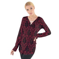Elegant Black And Red Damask Antique Vintage Victorian Lace Style Women s Tie Up Tee