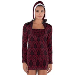 Elegant Black And Red Damask Antique Vintage Victorian Lace Style Women s Long Sleeve Hooded T-shirt