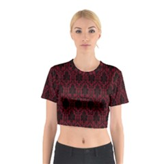 Elegant Black And Red Damask Antique Vintage Victorian Lace Style Cotton Crop Top