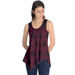 Elegant Black And Red Damask Antique Vintage Victorian Lace Style Sleeveless Tunic