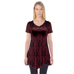 Elegant Black And Red Damask Antique Vintage Victorian Lace Style Short Sleeve Tunic