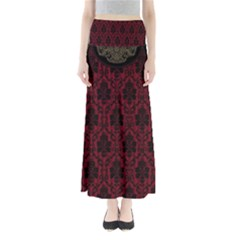 Elegant Black And Red Damask Antique Vintage Victorian Lace Style Maxi Skirts
