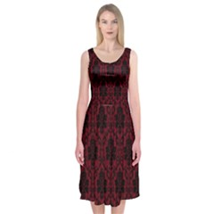 Elegant Black And Red Damask Antique Vintage Victorian Lace Style Midi Sleeveless Dress